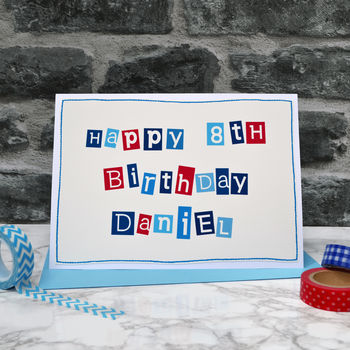 Personalised Typographic Boys Birthday Card