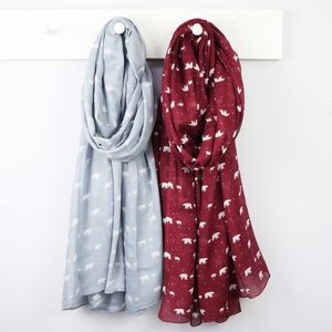 Polar Bear Print Scarf - winter sale