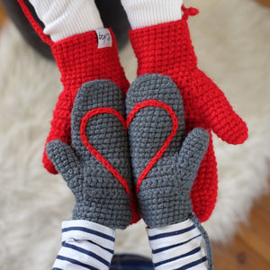 Mummy And Me Hidden Message Mitten Set - hats, scarves & gloves