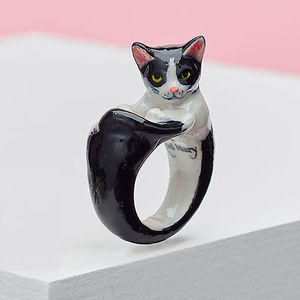 Black And White Cat Ring - rings