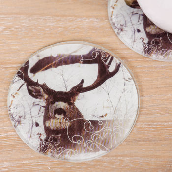 Set Of Four Round Highland Stag In Snow Print Coasters