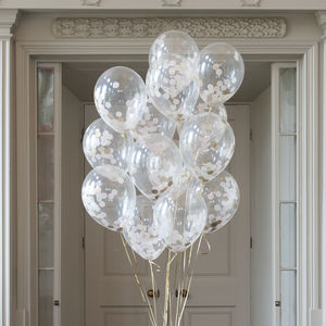 Pack Of 14 Baby Pink Confetti Balloons - room decorations