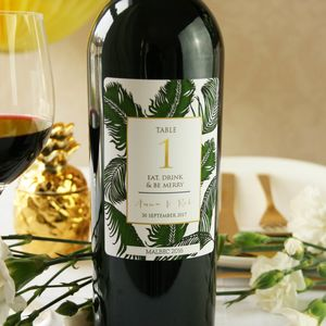 Botanical Table Number Wine Labels