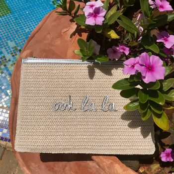 Personalised Woven Straw 'Ooh La La' Pouch