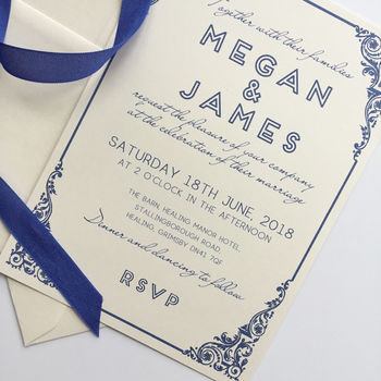 Traditional Wedding Invitation With Art Deco Border
