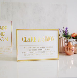 Gold Personalised Wedding Sign Couples Names - what's new