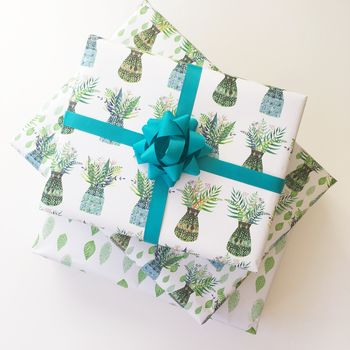 Green Pots And Leaves Wrapping Paper