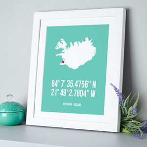 Map Coordinates Personalised Print - for the home