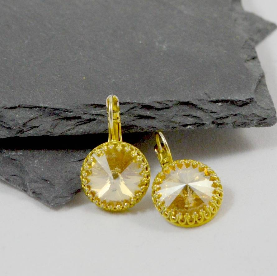 PS With Love Gold Swarovski Rivoli Drop Earrings