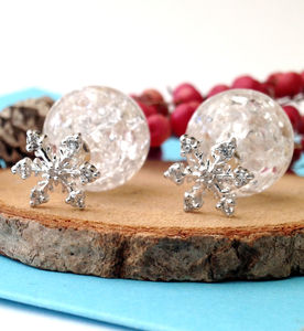 Cz Snowflake With Crackle Glaze Ball Earrings