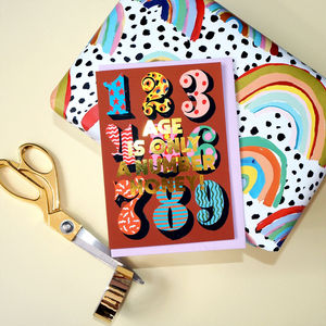 Age Is Only A Number Honey Gold Foiled Birthday Card