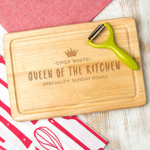 Queen Of The Kitchen Personalised Wooden Chopping Board - kitchen