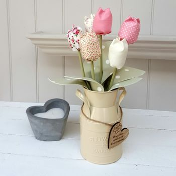 Handmade Pink Tulips In Milk Churn And Engraved Oak Tag
