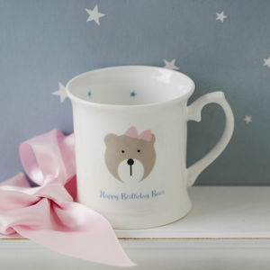 Personalised Happy Birthday Bear Child's Bone China Mug