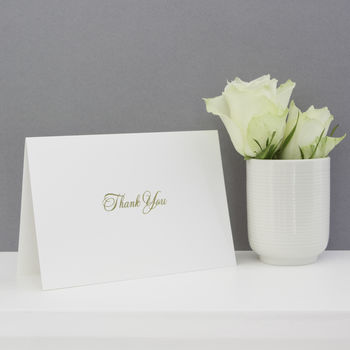Set Of Six Gold Script Thank You Cards