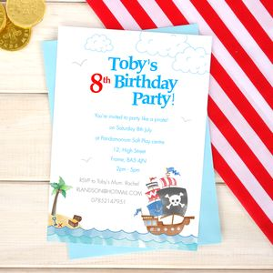 Personalised Pirate Party Invitation Pack