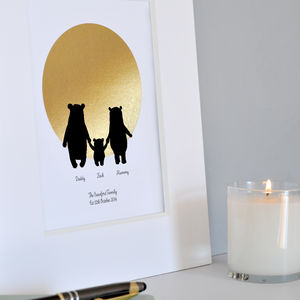 Bear Family Foiled Personalised Print