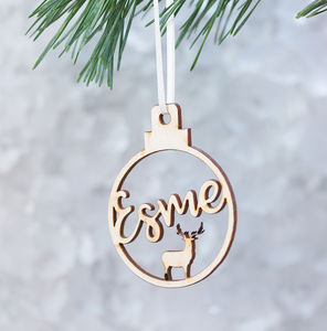 Personalised Reindeer Name Christmas Bauble - christmas decorations