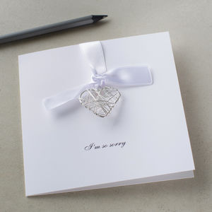 Personalised Sorry Wire Heart Card - sympathy & sorry cards
