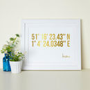 Personalised Coordinates Gold Foil Print