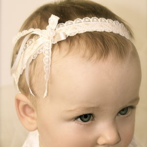 Hearts Vintage Lace Flower Girl Baby Headband - christening wear