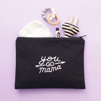 'You Go Mama' Embroidered Pouch