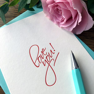 'Love You' Script Letterpress Card