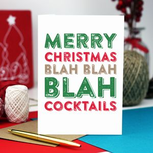 Merry Christmas Blah Blah Cocktails Card