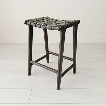 Blackwashed Teak And Leather Stool