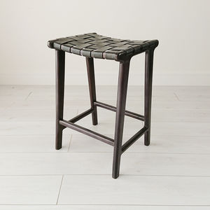 Blackwashed Teak And Leather Stool - view all new