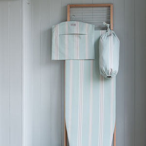 Eastnor Sage Green Stripe Organic Ironing Board Cover - ironing