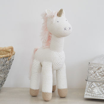 Large Hand Crocheted Unicorn Soft Toy