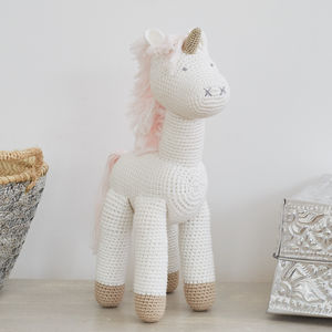 Large Hand Crocheted Unicorn Soft Toy - new modern toys