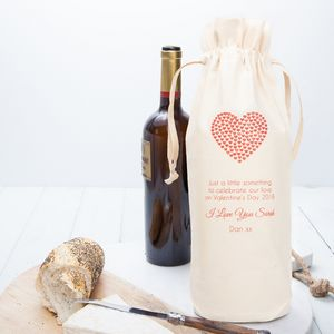 Personalised Valentines Wine Bottle Bag