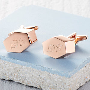 Personalised Rose Gold Geometric Cufflinks - cufflinks