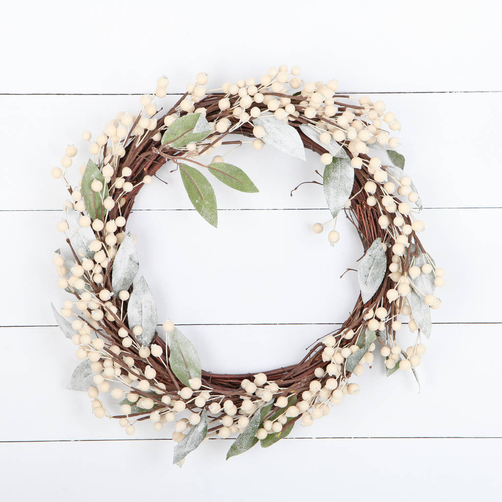 off white berry artificial christmas wreath by red berry apple ...
