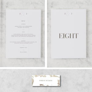 'Etched In Time' Marble On The Day Stationery Bundle - table numbers