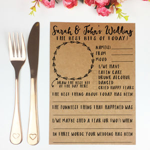 Personalised A5 Rate The Day Wedding Game Activity