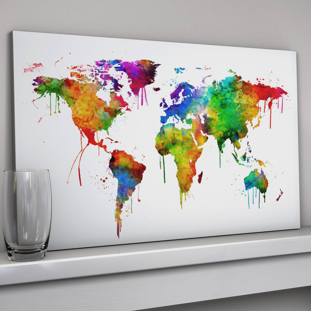 World Map Canvas Art Print By Artpause Notonthehighstreetcom - World map canvas