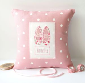 Personalised Ballet Shoes Cushion - living room