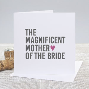 'Mother Of The Bride' Bold Wedding Thank You Card - wedding thank you gifts