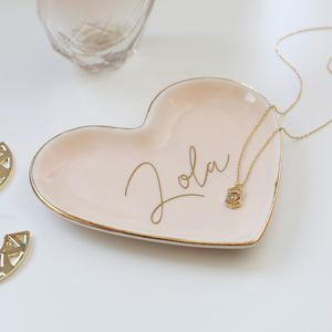 Personalised Pink Heart Trinket Dish - jewellery storage & trinket boxes