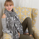 Feather Silver Foil Print Scarf