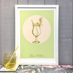 Piña Colada Cocktail Giclée Fine Art Print - food & drink prints