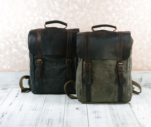 Waxed Canvas Backpack Personalised - mens