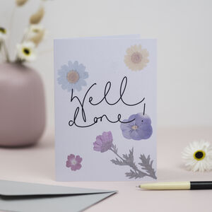 'Well Done!' Pressed Flower Design Greetings Card