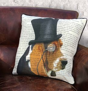 Basset Hound Cushion, Formal Dog Collection - cushions