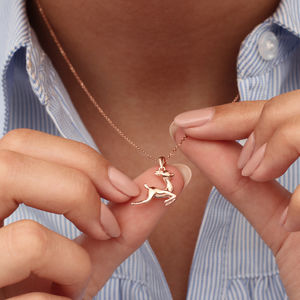 Personalised 18ct Rose Gold Bambi Necklace