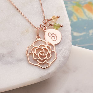 Rose Necklace In Rose Gold With Monogram - 18th birthday gifts