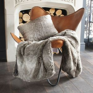Luxurious Grey Wolf Faux Fur Throw Or Cushion - bedroom